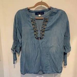 Francesca's Denim Blouse NWOT